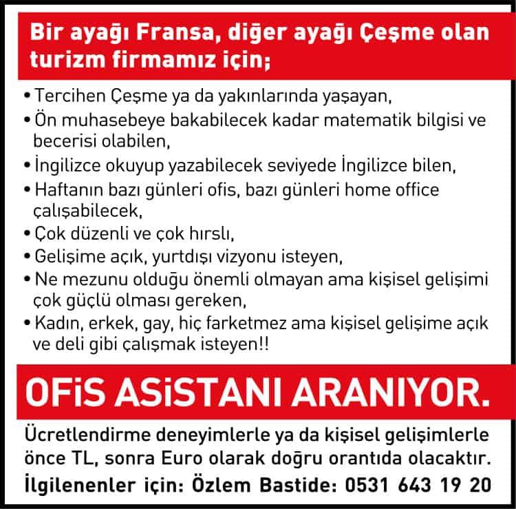 Ofis Asistanı İş İlanı - İzmir