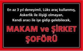 Avrupa Yakası Makam Şoförü İş İlanları, İstanbul Makam Şoförü Arayan, makam şöförü iş ilanları, makam şoförü arayan