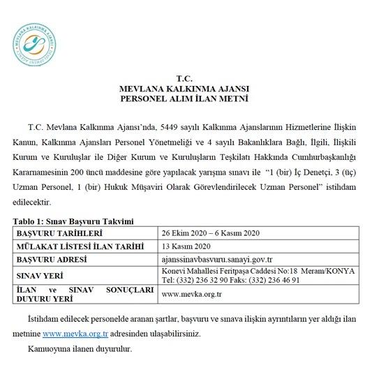 İç Denetçi - Uzman Personel - Hukuk Müşaviri - Konya